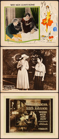 "Movie Posters:Western, Where Men Are Men & Other Lot (Vitagraph, 1921). Overall: Fine/Very Fine. Title Lobby Card & Lobby Cards (2) (11"" X 14""). We... (Total: 3 Items)"