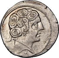 Ancients: SPAIN. Sekobirikes (Segobriga). Ca. 2nd-1st centuries BC. AR denarius (20mm, 1h). NGC XF