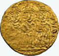 Ancients:Byzantine, Ancients: Constantine VI and Irene (AD 787-797), with Leo III, Constantine V, and Leo IV. AV solidus (20mm, 4.50 gm, 6h). NGC Choice XF ...