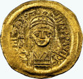 Ancients:Byzantine, Ancients: Justin II (AD 565-578). AV solidus (21mm, 4.40 gm, 7h). NGC Choice MS 5/5 - 4/5, clipped....