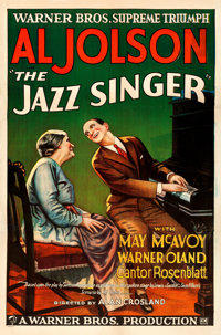 """The Jazz Singer (Warner Brothers, 1927). Fine/Very Fine on Linen. One Sheet (27"""" X 41"""") Style A"""