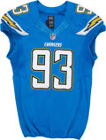 Football Collectibles:Uniforms, 2013 Dwight Freeney Game Worn & Signed San Diego Chargers Jersey....