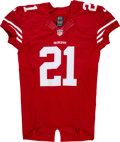 Football Collectibles:Uniforms, 2014 Frank Gore Game Issued & Signed San Francisco 49ers Jersey....