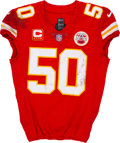 Football Collectibles:Uniforms, 2019 Justin Houston Game Worn & Unwashed Kansas City Chiefs Jersey - Photo-Matched & Used in AFC Divisional Playoffs vs. Colts...