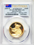 "Australia: Elizabeth II gold Proof ""High Relief"" 100 Dollars (1 oz) 2009-P PR70 Deep Cameo PCGS"