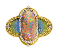 Antique Black Opal, Diamond, Enamel, Platinum, Gold Brooch, attributed to Marcus & Co