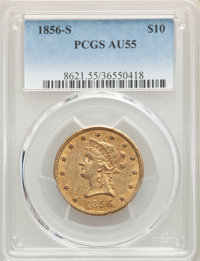1856-S $10 AU55 PCGS. PCGS Population: (29/28). NGC Census: (63/46). CDN: $2,330 Whsle. Bid for NGC/PCGS AU55. Mintage 6...
