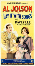 "Movie Posters:Musical, Say it with Songs (Warner Bros., 1929). Fine/Very Fine on Linen. Three Sheet (41"" X 76.5"") Style B.. ..."