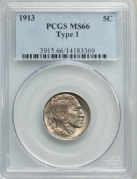 1913 5C Type One MS66 PCGS. PCGS Population: (2230/713). NGC Census: (1448/347). MS66. Mintage 30,993,520. ...(PCGS# 391...