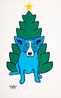 George Rodrigue (American, 1944-2013) A Blue Christmas without You, 1993 Screenprint in colors on pa