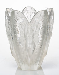 A Lalique Frosted Glass Chrysalide Vase in Original Fitted Box, post-1945 Marks:
