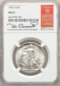 Walking Liberty Half Dollars, 1943-D 50C MS67 NGC. The NGC insert is hand-signed by longtime Guide Book editor Kenneth Bressett. NGC Census: (299/7). PCG...