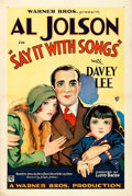 "Movie Posters:Musical, Say it with Songs (Warner Bros., 1929). Very Fine on Linen. One Sheet (27"" X 41"") Style B.. ..."