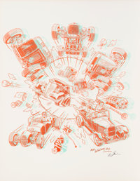 Robert Williams (b. 1943) Hot Rods a Poppin, 1985 Screenprint in colors on paper 22-1/2 x 17-1/2