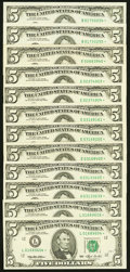 Fr. 1982-B*(2); E* (6) $5 1993 Federal Reserve Star Notes. Very Fine to Choice Crisp Uncirculated; Fr. 1983-H*(