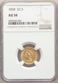Liberty Quarter Eagles: , 1858 $2 1/2 AU58 NGC. NGC Census: (91/75). PCGS Population: (25/53). CDN: $675 Whsle. Bid for NGC/PCGS AU58. Mintage 47,377...