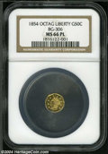 California Fractional Gold: , 1854 50C Liberty Octagonal 50 Cents, BG-306, R.4, MS66 ProoflikeNGC....