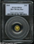 California Fractional Gold: , 1860 25C Liberty Octagonal 25 Cents, BG-730, High R.6, MS64PCGS....