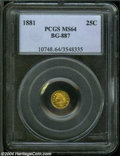 California Fractional Gold: , 1881 25C Indian Round 25 Cents, BG-887, R.3, MS64 PCGS....