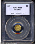 California Fractional Gold: , 1869 $1 Liberty Octagonal 1 Dollar, BG-1106, High R.4, AU58PCGS....