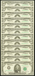 Small Size:Federal Reserve Notes, Fr. 1978-D $5 1985 Federal Reserve Notes. Five Examples. Choice Crisp Uncirculated;. Fr. 1984-B $5 1995 Federal Reserve No... (Total: 12 notes)