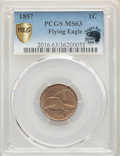 1857 1C MS63 PCGS Secure. Eagle Eye Photo Seal. PCGS Population: (941/1451 and 2/69+). NGC Census: (565/1157 and 3/11+)...