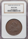 Italy: Papal States. Pius IX 4 Soldi Anno XXII (1868)-R MS67 Brown NGC