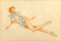 Fine Art - Work on Paper, Alberto Vargas (American, 1896-1982). Red-Head Laying on Side, Ice Blue Costume. Watercolor and gouache on board. 20 x 3...
