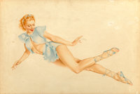 Alberto Vargas (American, 1896-1982) Red-Head Laying on Side, Ice Blue Costume Watercolor and gouach