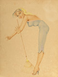 Fine Art - Work on Paper, Alberto Vargas (American, 1896-1982). Girl with Rake. Watercolor and gouache on board. 20 x 15 inches (50.8 x 38.1 cm). ...