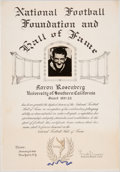 Football Collectibles:Others, 1966 Aaron Rosenberg College Football Hall of Fame Presentational Certificate....