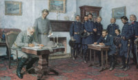 Tom Lovell (American, 1909-1997) Surrender at Appomattox Lithograph in colors on paper 16 x 27 in