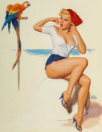 Earl Moran (American, 1893-1984) Parrot Call Watercolor and gouache on board 20 x 15.75 in. (sigh