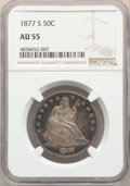 Seated Half Dollars: , 1877-S 50C AU55 NGC. NGC Census: (45/355). PCGS Population: (66/435). CDN: $225 Whsle. Bid for problem-free NGC/PCGS AU55. ...
