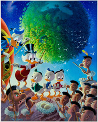 Carl Barks An Astronomical Predicament Signed Limited Edition Lithograph Print #219/345 (Another Rainbow, 1990)