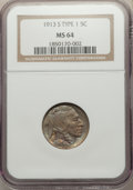 Buffalo Nickels, 1913-S 5C Type One MS64 NGC. NGC Census: (489/297). PCGS Population: (953/647). CDN: $200 Whsle. Bid for problem-free NGC/P...