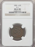 Half Cents, 1833 1/2 C C-1, B-1, R.1, MS61 Brown NGC. NGC Census: (49/270). PCGS Population: (0/13). MS61. ...