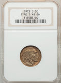 Buffalo Nickels, 1913-D 5C Type One MS66 NGC. NGC Census: (173/24). PCGS Population: (461/84). CDN: $525 Whsle. Bid for problem-free NGC/PCG...