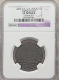 1787 FUGIO Fugio Cent, Club Rays, Rounded Ends, -- Damaged -- NGC Details. VF. NGC Census: (3/55). PCGS Population: (16/...