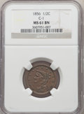 Half Cents, 1856 1/2 C C-1, B-2a, R.1, MS61 Brown NGC. NGC Census: (52/198). PCGS Population: (0/9). MS61. Mintage 40,430. ...