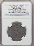 1787 CENT Massachusetts Cent, Horned Eagle, -- Environmental Damage -- NGC Details. VF. NGC Census: (2/32). PCGS Populat...