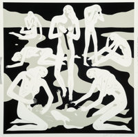 Cleon Peterson (b. 1973) Virgins (White), 2017 Screenprint in colors on Coventry Rag paper 28 x 2