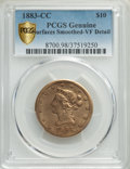 1883-CC $10 -- Surfaces Smoothed -- PCGS Genuine. VF Details. NGC Census: (4/161 and 0/1+). PCGS Population: (5/182 and...