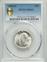 1923-S 25C MS63 PCGS. PCGS Population: (61/247 and 1/12+). NGC Census: (34/112 and 0/1+). CDN: $2,850 Whsle. Bid for pro...