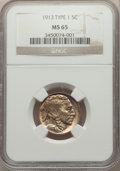 Buffalo Nickels, 1913 5C Type One MS65 NGC. NGC Census: (2726/1788). PCGS Population: (4016/2904). MS65. Mintage 30,993,520. ...