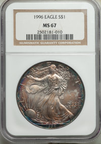 1996 $1 Silver Eagle MS67 NGC. NGC Census: (1964/118060). PCGS Population: (1174/11570). Mintage 3,603,386. ...(PCGS# 99...