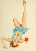 Fine Art - Work on Paper, Alberto Vargas (American, 1896-1982). So Many Choices. Watercolor on board. 19-1/2 x 13-3/4 inches (49.5 x 34.9 cm) (sig...