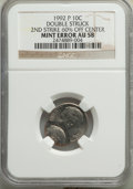 1992-P 10C -- Double Struck 2nd. Strike 60% Off Center -- AU58 NGC. NGC Census: (0/69). PCGS Population: (0/308)