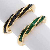 Sapphire, Emerald, Gold Rings