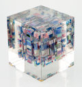 Glass, Jon Kuhn (American, b. 1949). Miami Cubed, 1988. Glass. 6-3/4 x 6-1/4 x 6 inches (17.1 x 15.9 x 15.2 cm). Incised to und...